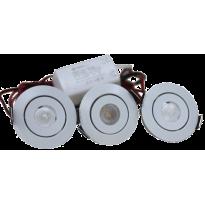 LED Set van 3 Inbouwspots - 3W - Chroom - Dimbaar - Gratis Trafo
