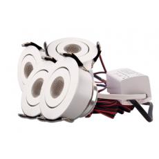 LED Set van 4 Inbouwspots - 3W - Wit - Dimbaar - Gratis Trafo