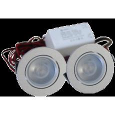 LED Set van 2 Inbouwspot - 4W - Chroom - Dimbaar - Gratis Trafo