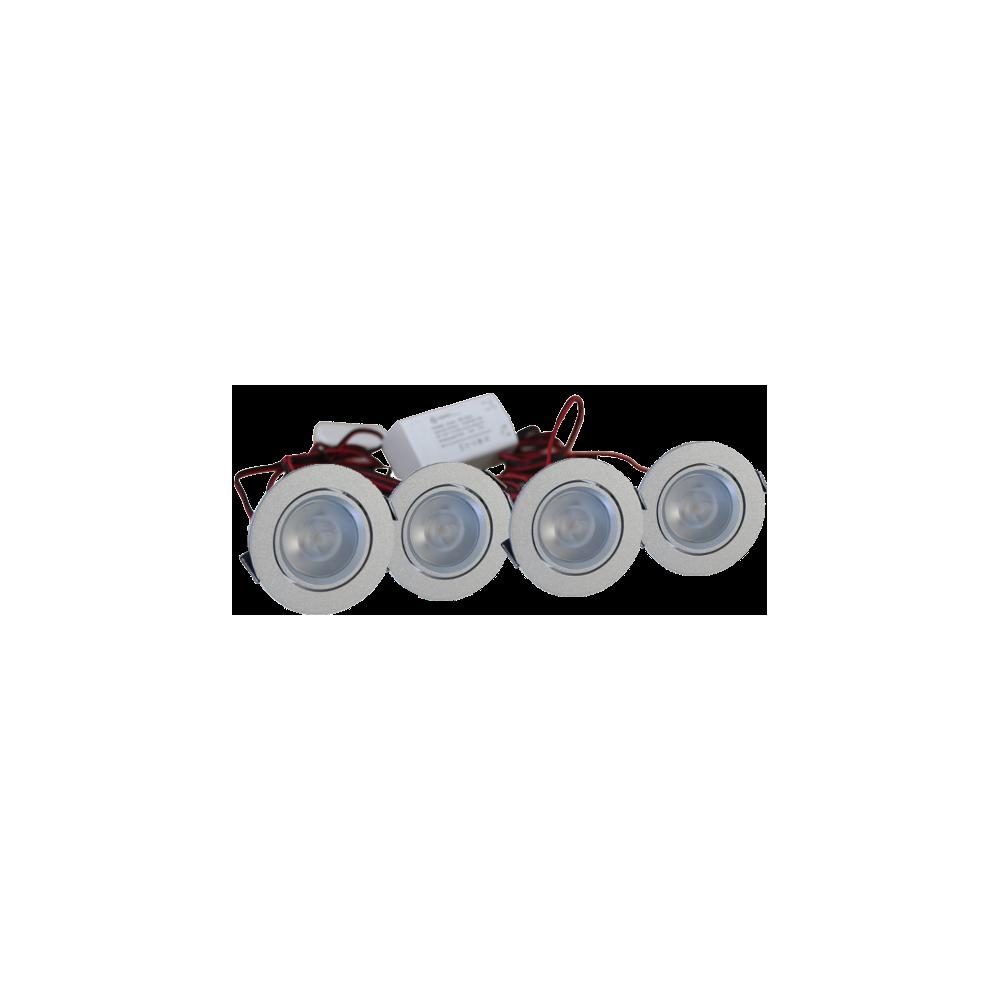 LED Set van 4 Inbouwspot - 4W - Chroom - Dimbaar - Gratis Trafo