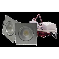 LED Set van 2 Inbouwspots - 4W - Chroom - Vierkant - Dimbaar - Gratis Trafo