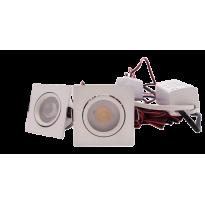 LED Set 2-Inbouwspots - 4W - Wit - Vierkant - Dimbaar - Gratis Trafo