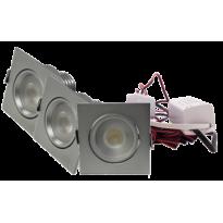 LED Set 3-Inbouwspots - 4W - Chroom - Vierkant - Dimbaar - Gratis Trafo