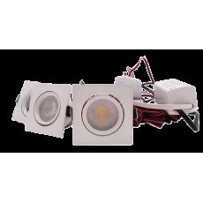 LED Set 3-Inbouwspots - 4W - Wit - Vierkant - Dimbaar - Gratis Trafo