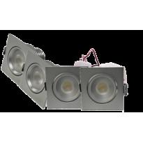 LED Set 4-Inbouwspots - 4W - Chroom - Vierkant - Dimbaar - Gratis Trafo