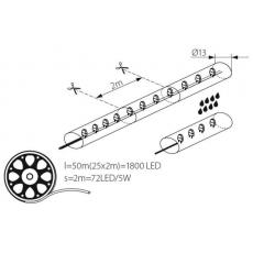 LED Lichtslang - Geel - 2,5W/m - IP44 - Ø13mm
